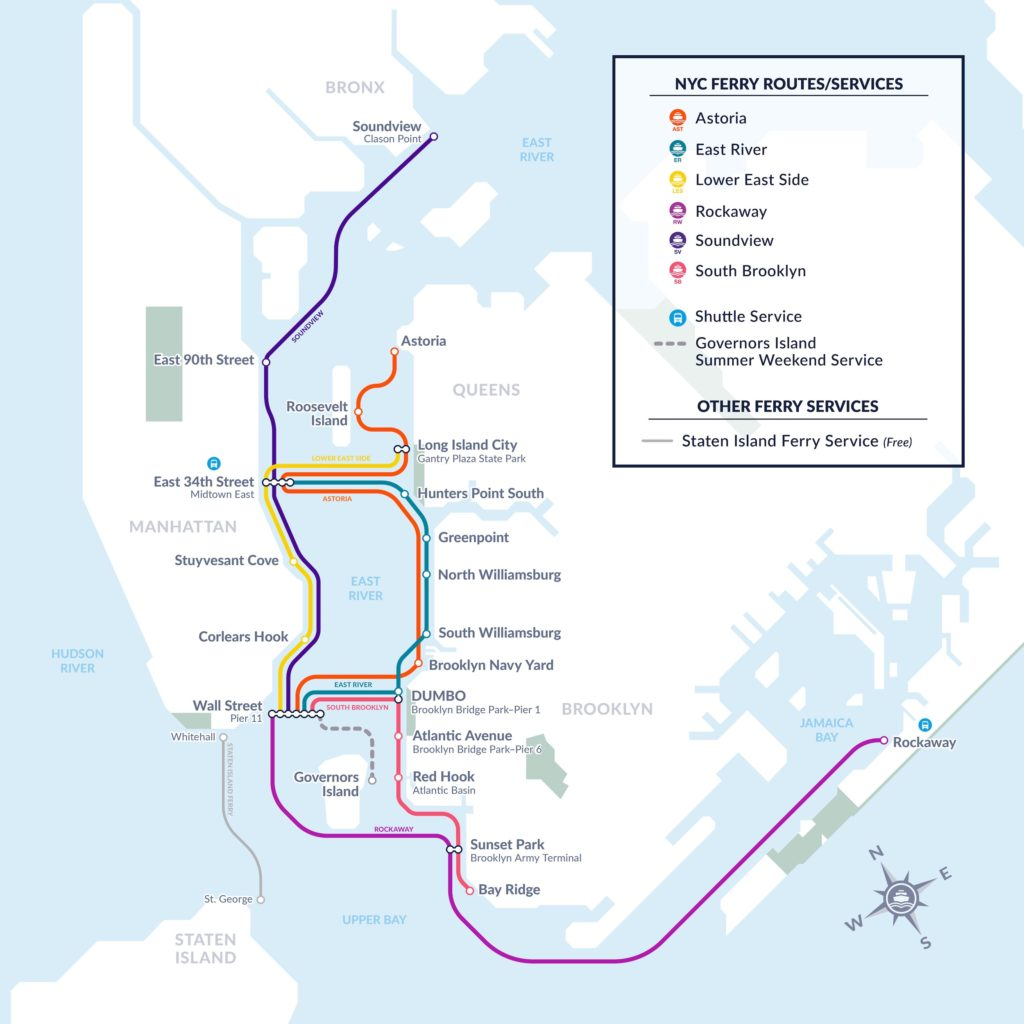 NYC Ferry Service Route Map 2019